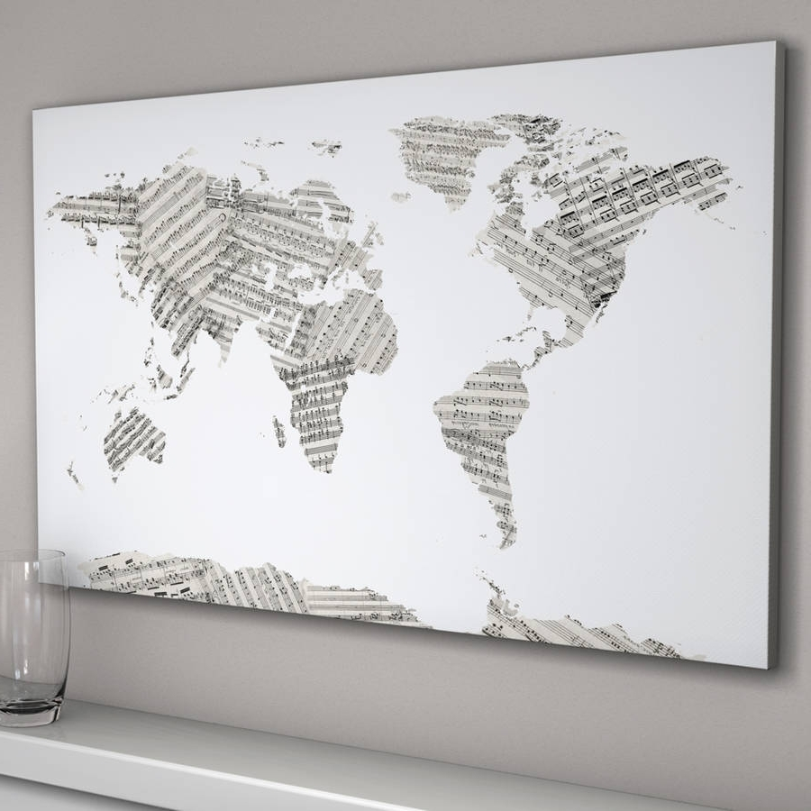 Map Wall Art Prints With Recent Sheet Music World Map – Solid.graphikworks (View 11 of 20)