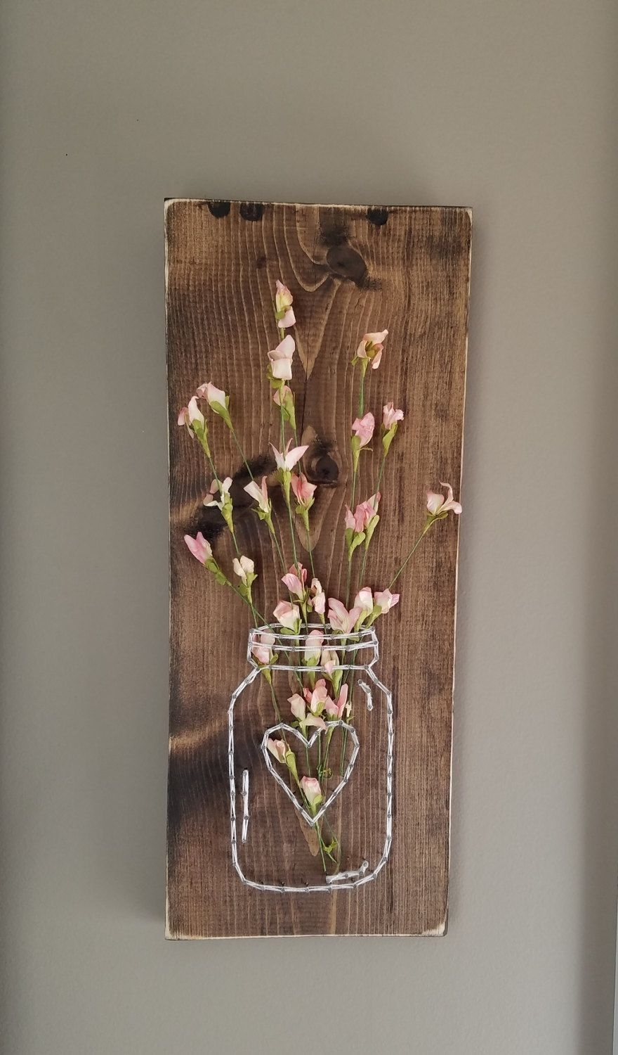 Mason Jar String Art With Artificial Flowers, Wall Art, Wood Wall With Most Up To Date Mason Jar Wall Art (View 9 of 20)