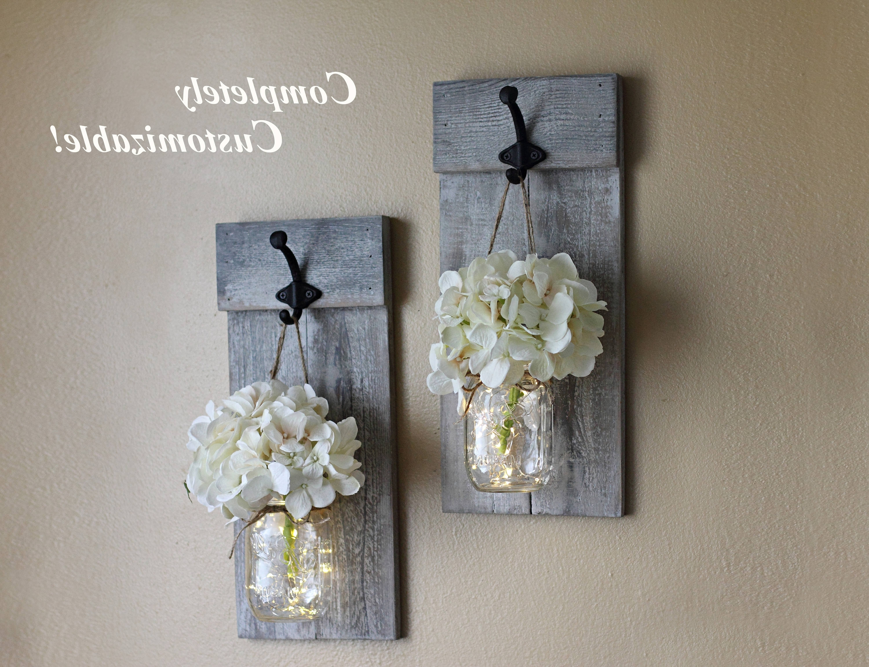 Mason Jar Wall Sconce Set Mason Jar Decor Wall Sconces (View 9 of 20)