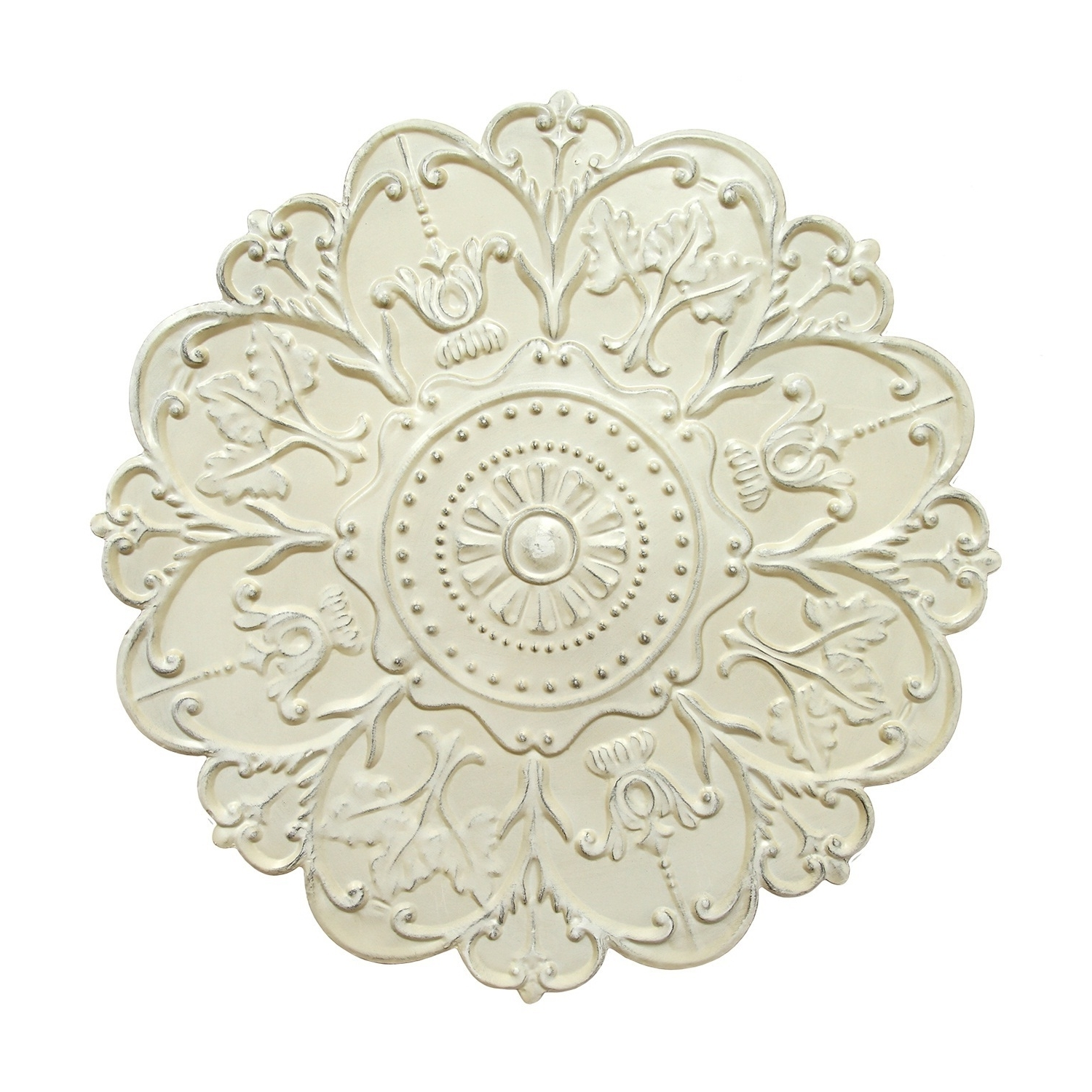 Medallion Wall Art Floral Accent Round Metal Home Decor Shabby White Intended For Most Popular Medallion Wall Art (Gallery 9 of 20)