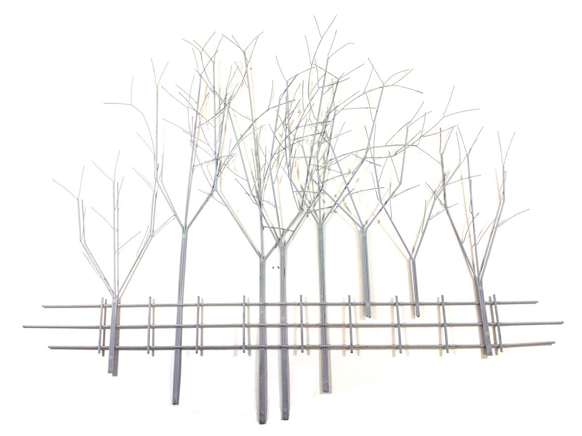 Metal Wall Art – Large Grey Winter's Day Tree Scene Throughout Most Popular Metal Tree Wall Art (View 12 of 15)