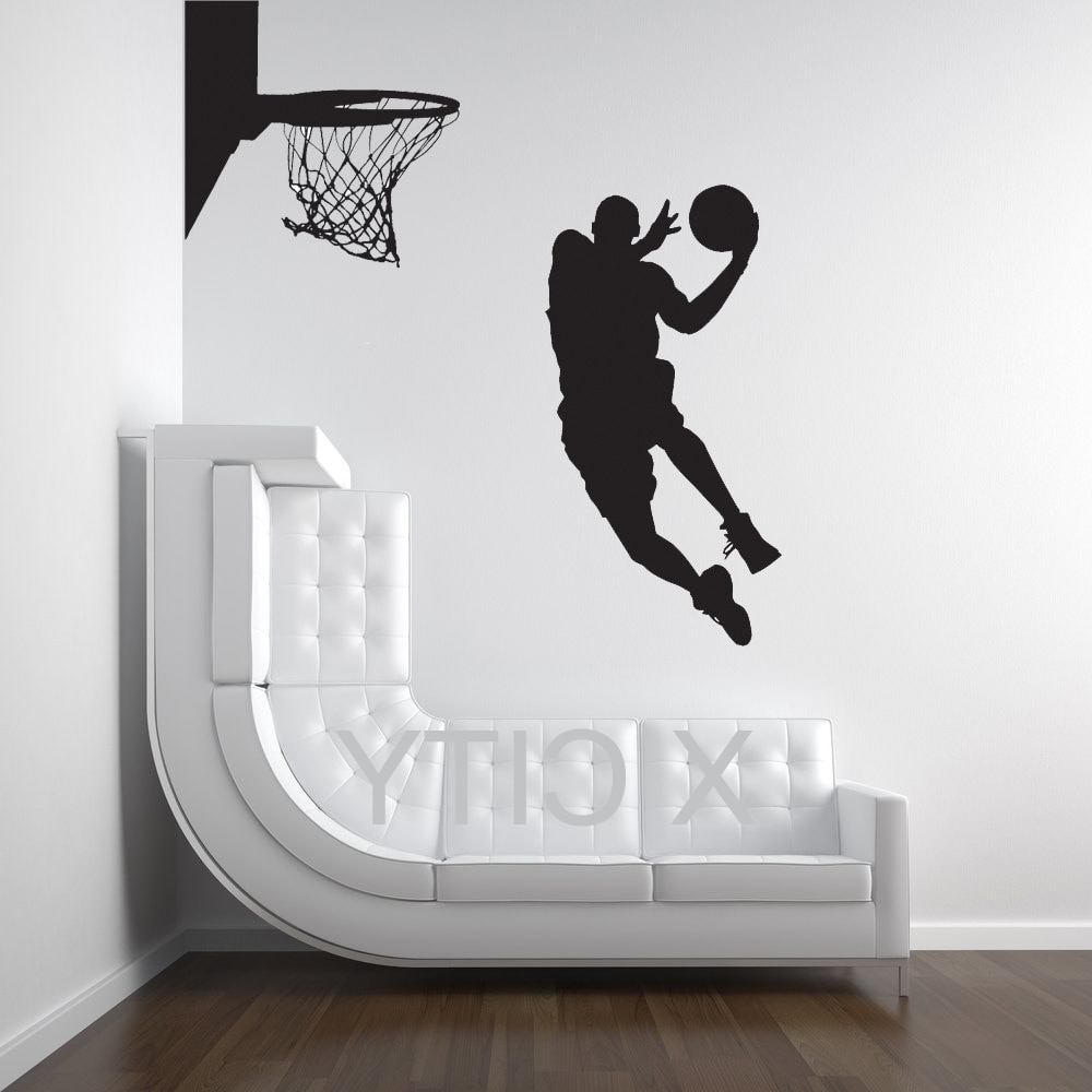 Michael Jordan Basketball Player Dunk Ball Dorm Decor Silhouette For Fashionable Basketball Wall Art (View 10 of 15)