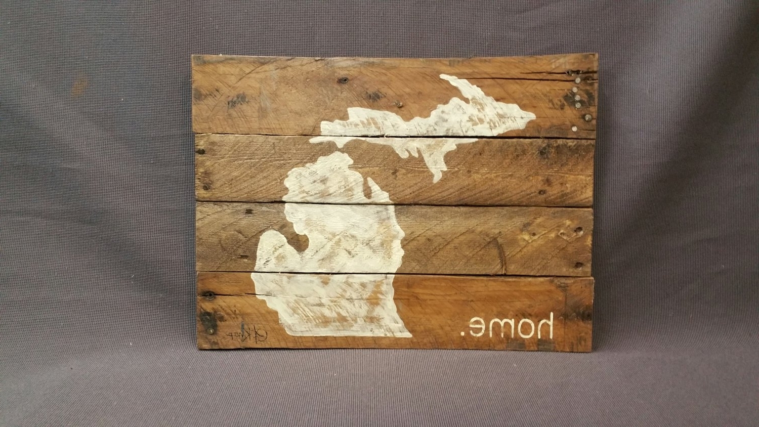 Michigan Wall Art Throughout 2017 State Of Michigan Reclaimed Wood Pallet Wall Art Gift Hand, Pallet (View 11 of 20)