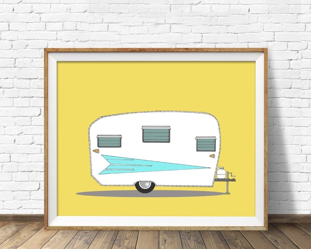 Mid Century Modern Wall Art In Widely Used Vintage Camper, Mid Century Modern, Camper, Large Wall Art, Orange (View 8 of 20)