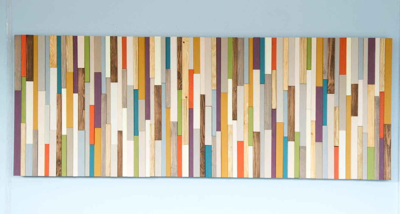 Mid Century Modern Wall Art Within Well Liked Mid Century Wall Art, Reclaimed Wood Art Sculpture, Painted Wood (View 11 of 20)