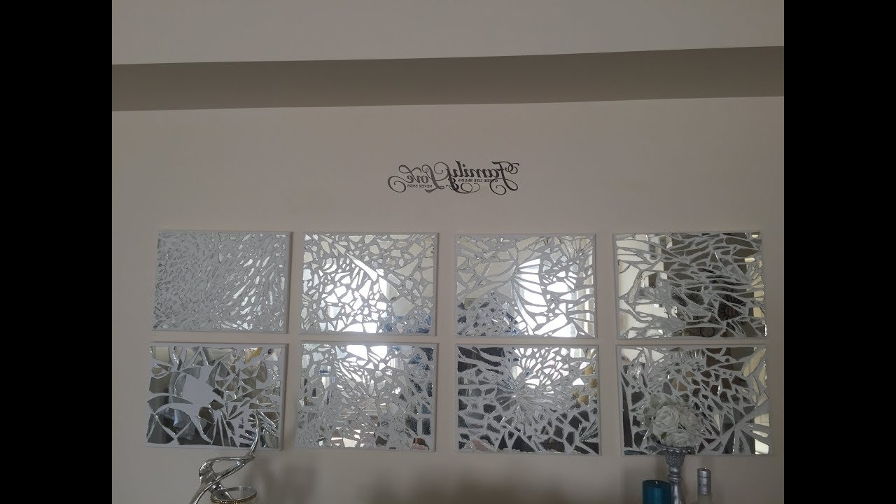 Mirror Mosaic Wall Art Within Well Liked D I Y Mosaic Mirrored Wall Art. – Youtube (Gallery 1 of 20)