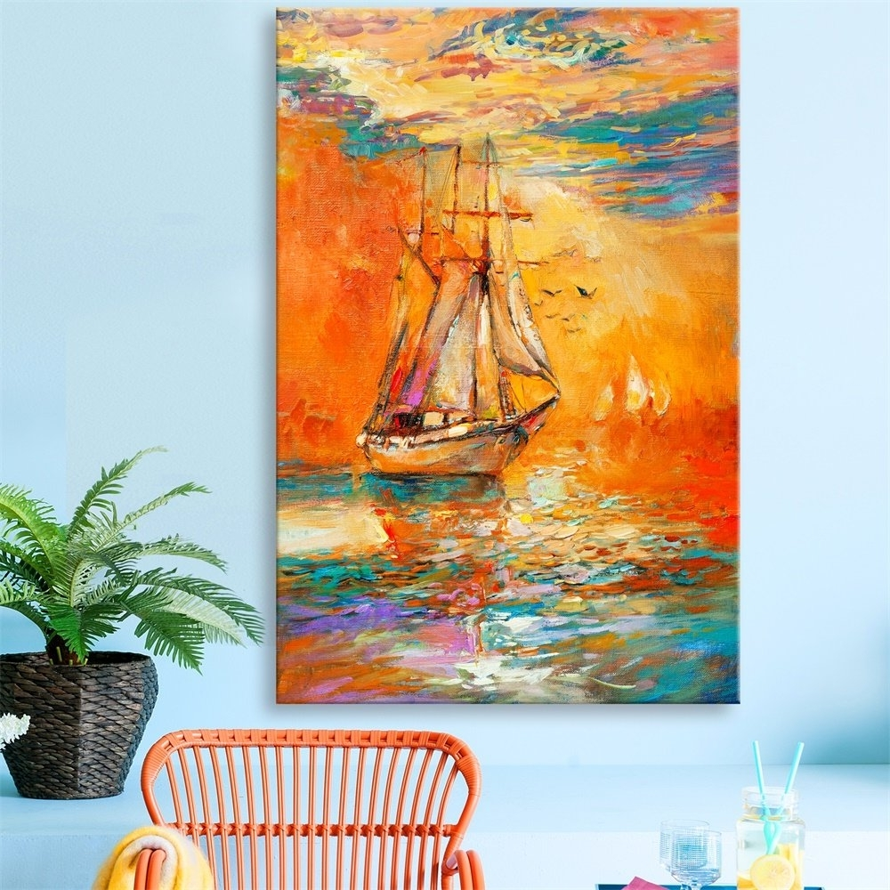 Modern Abstract Painting Wall Art Within Famous Donglin Art Golden Sailboat Wall Art Modern Abstract Painting Wall (View 9 of 20)