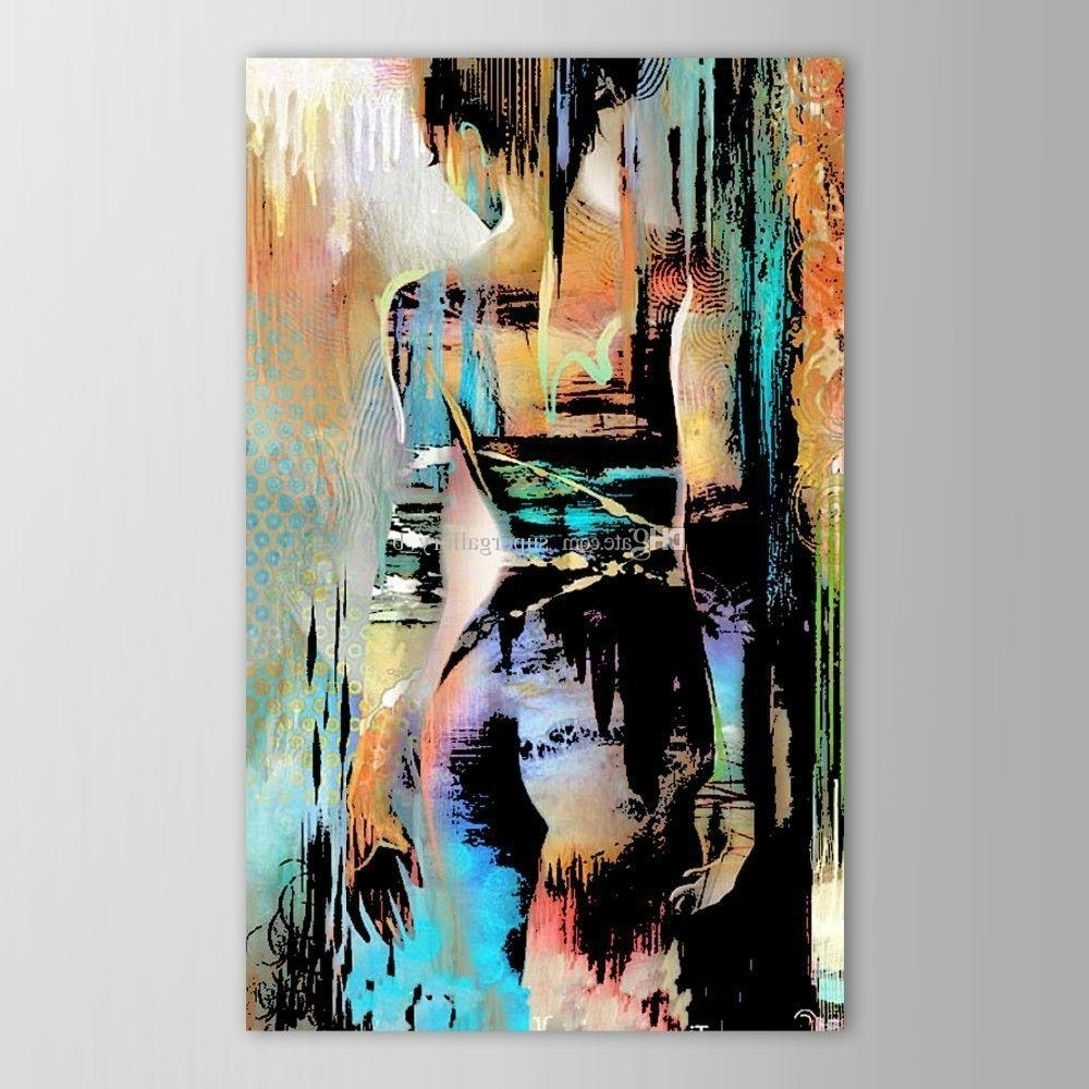 Modern Abstract Painting Wall Art Within Well Known Framed Hand Painted Modern Abstract Graffiti Nude Girl Art Painting (View 11 of 20)