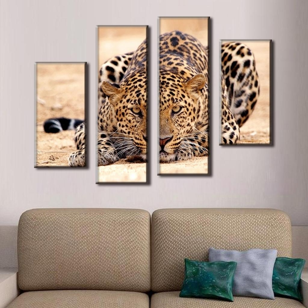 Modern Large Canvas Wall Art For Current 4 Pcs/set Excellent Large Canvas Paintings Animal Wall Art Picture (View 8 of 20)