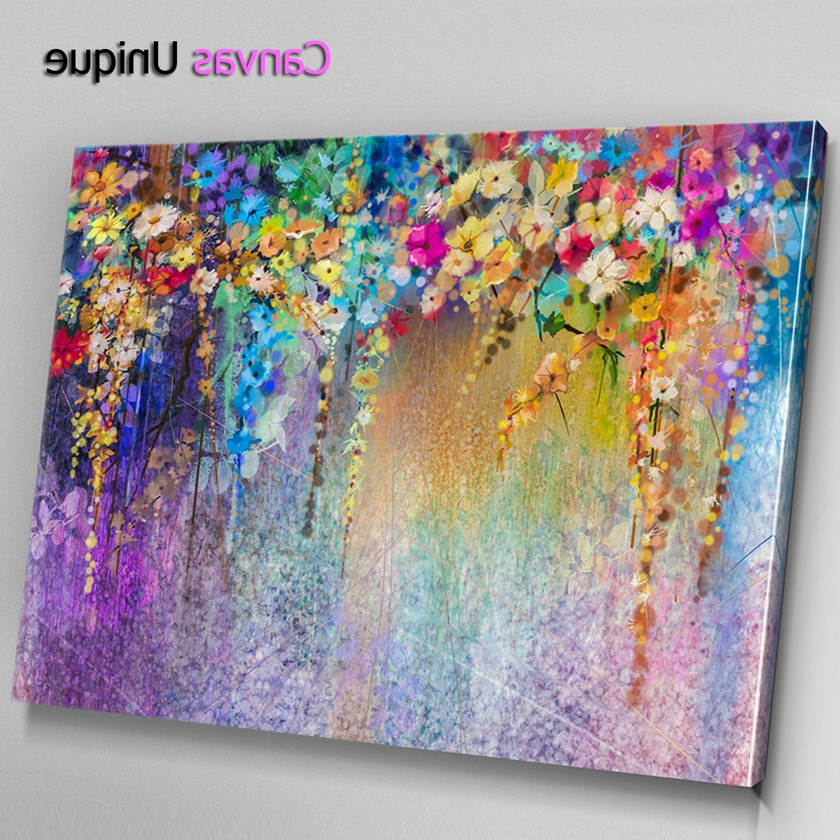 Modern Large Canvas Wall Art With Regard To Current Ab1535 Purple Blue Modern Floral Abstract Wall Art Picture Large (View 12 of 20)