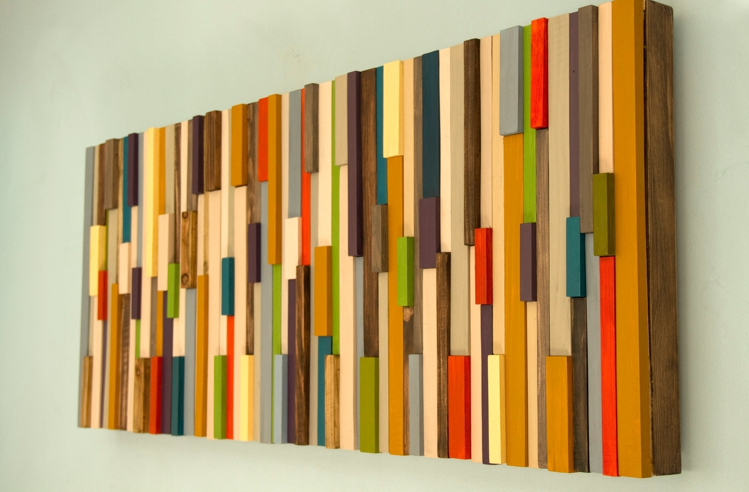 Modern Large Wall Art, Reclaimed Wood Art Sculpture, Painted Wood Within 2017 Wood Art Wall (View 15 of 20)