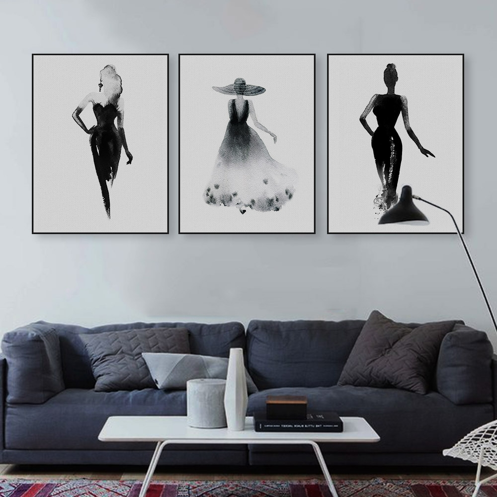 Modern Nordic Black White Fashion Model Large Canvas Art Print Throughout Most Current Black And White Large Canvas Wall Art (View 17 of 20)