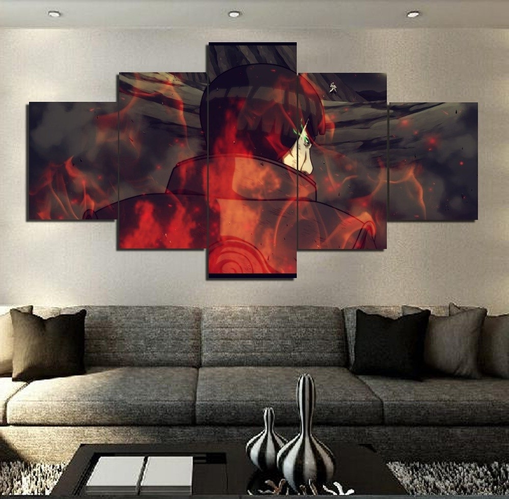 Modern Painting Canvas Wall Art For Trendy Hd Printed 5 Pcs Modern Decorative Naruto Anime Painting Canvas Wall (View 9 of 20)