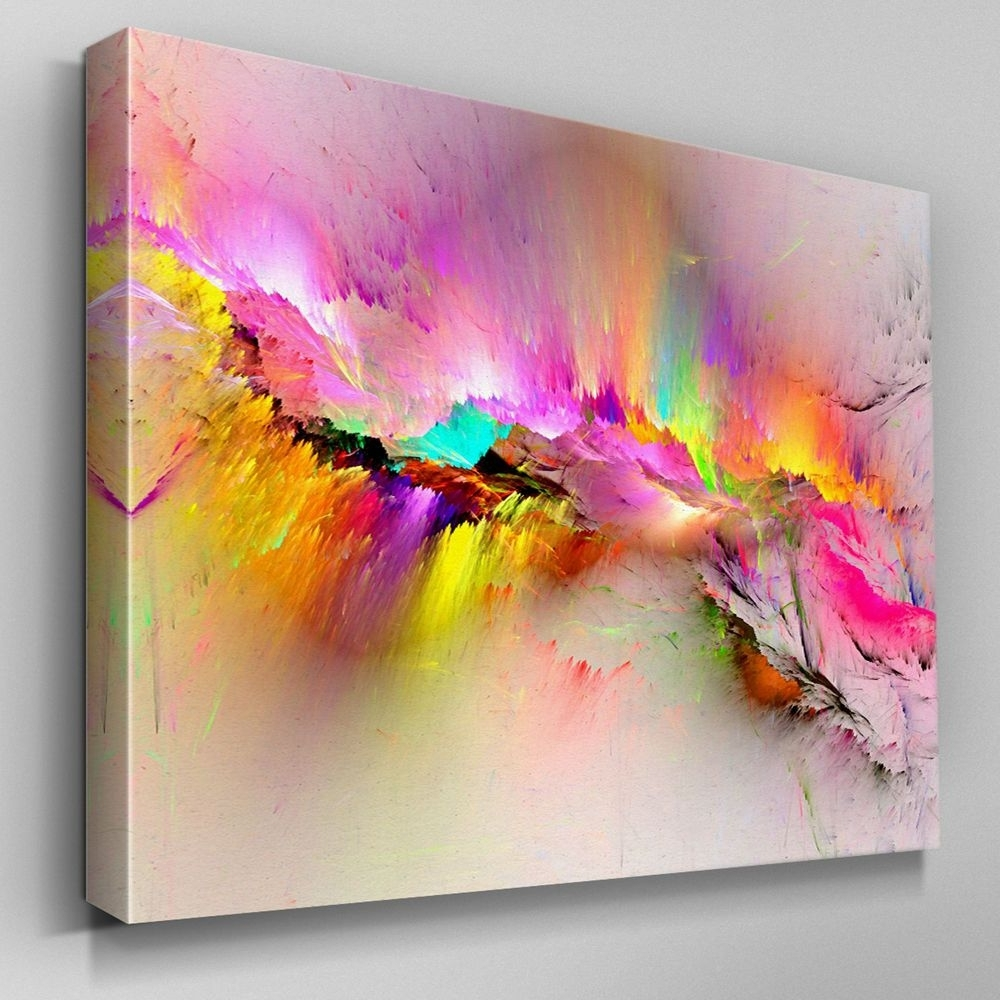 Modern Painting Canvas Wall Art With Regard To Trendy Ab970 Modern Pink Yellow Large Canvas Wall Art Abstract Picture (View 13 of 20)