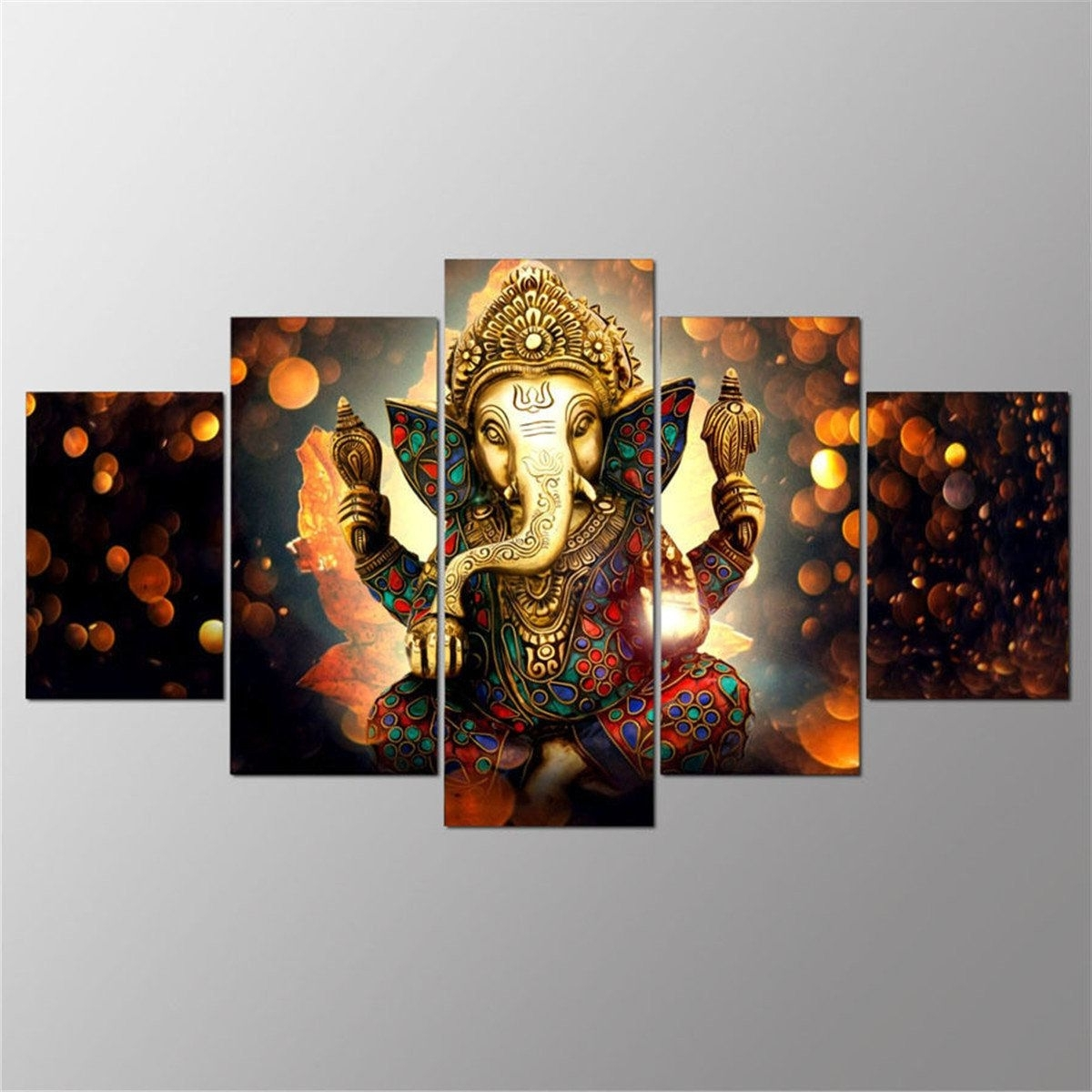 Modern Wall Art Decors Inside Recent 5Pcs Ganesha Painting Abstract Print Modern Canvas Wall Art Poster (View 12 of 20)