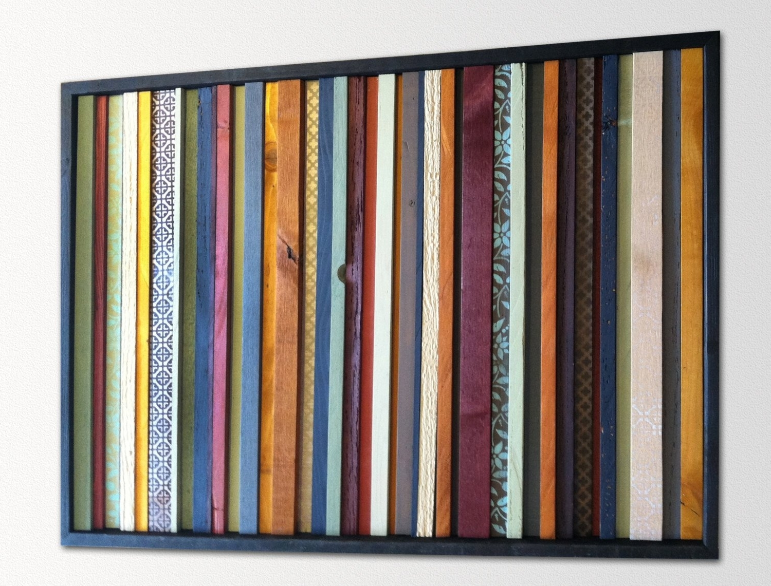 Modern Wood Wall Art – India – Wood Stripes In Orange, Yellow, Blues With Regard To 2018 Orange Wall Art (View 6 of 20)