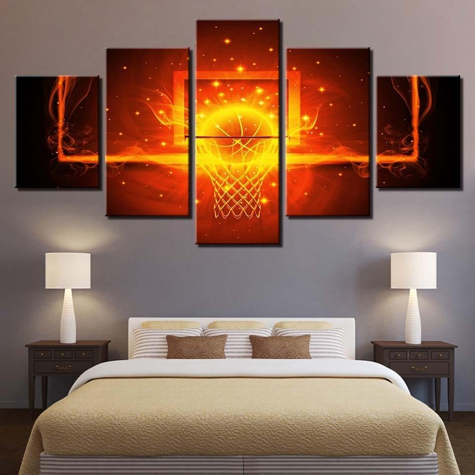 Modular Canvas Poster Wall Art Framework 5 Pieces Fire Basketball Regarding Newest Basketball Wall Art (View 11 of 15)