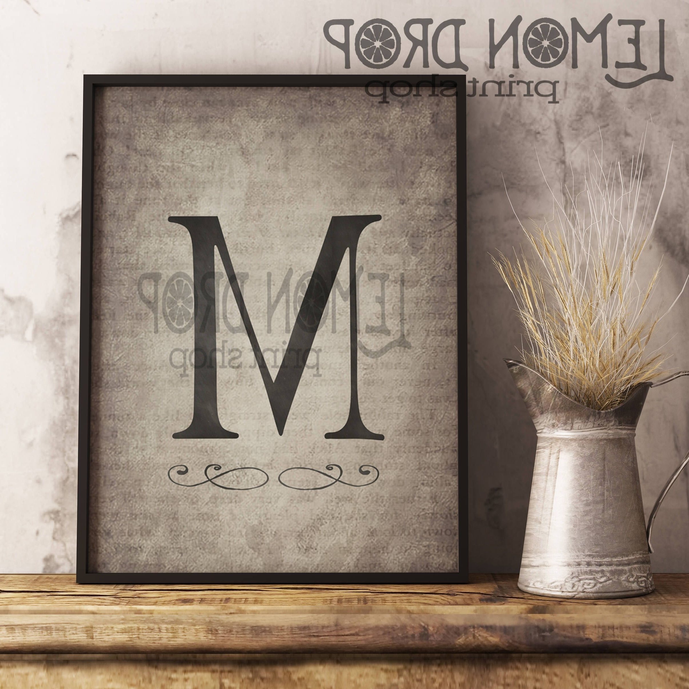 Monogram Wall Art Regarding 2017 Monogram Wall Decor, Rustic Monogram, Last Name Wall Art, Farmhouse (Gallery 10 of 20)