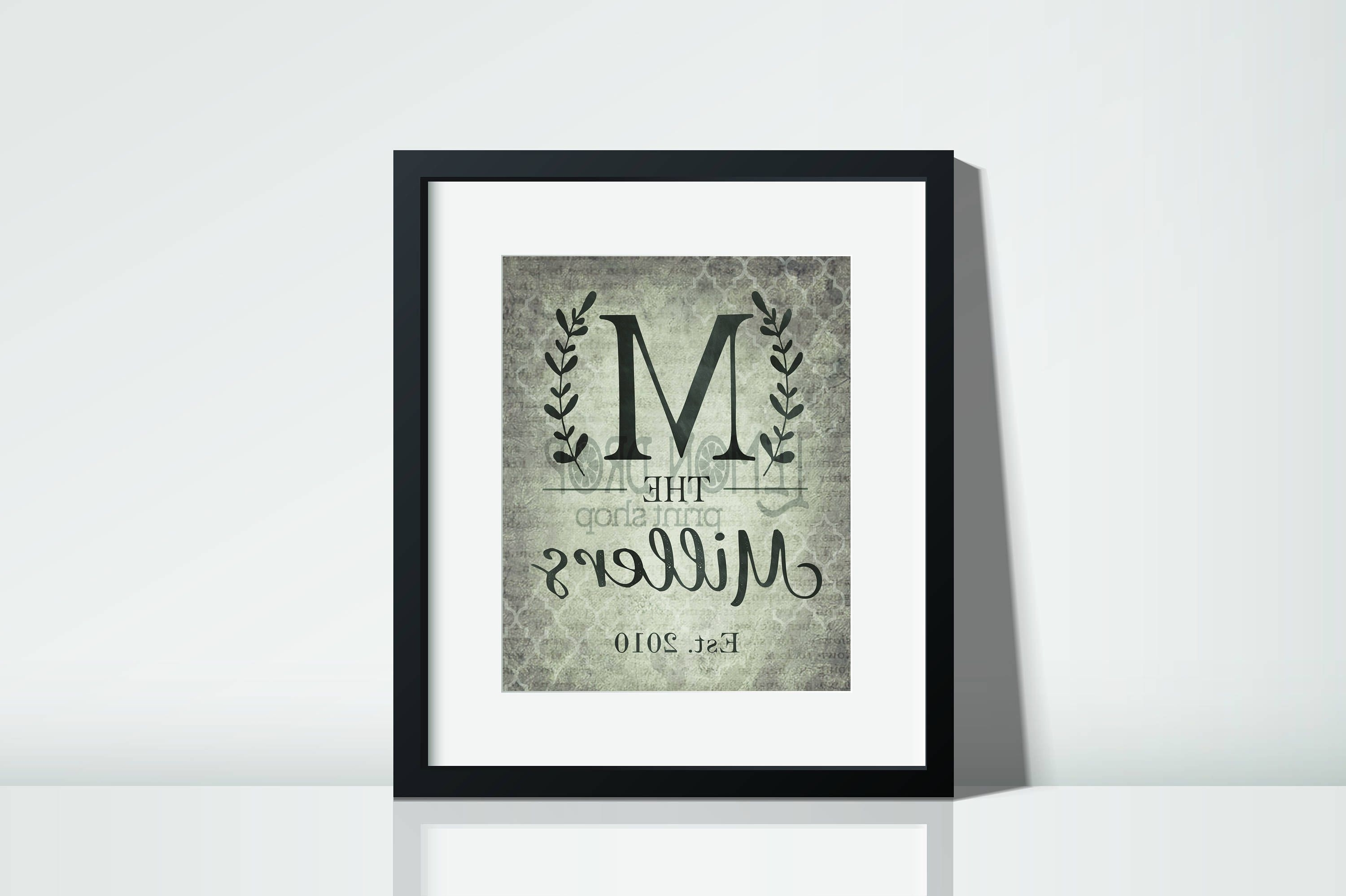 Monogram Wall Art Within Well Liked Monogram Wall Decor, Rustic Monogram, Last Name Wall Art, Farmhouse (View 13 of 20)