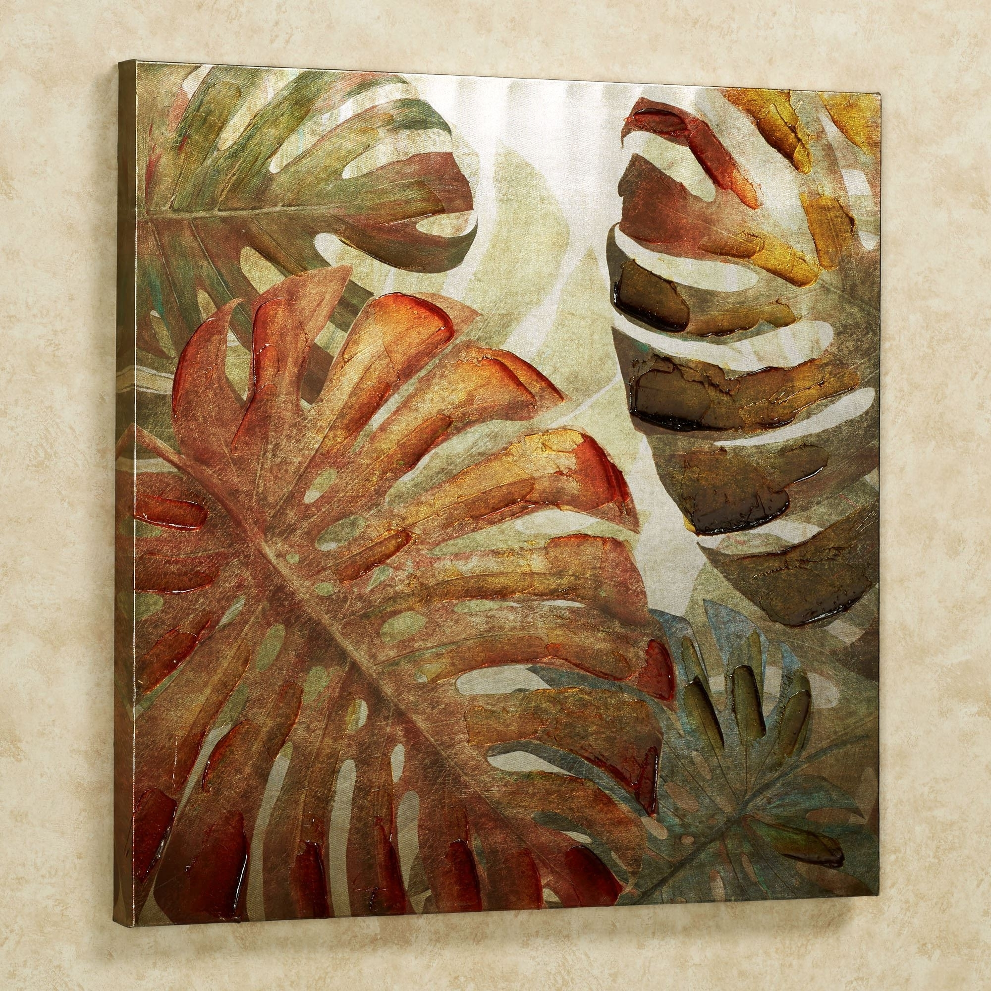 Monstera Palm Leaves Tropical Canvas Wall Art With Latest Tropical Wall Art (View 9 of 20)