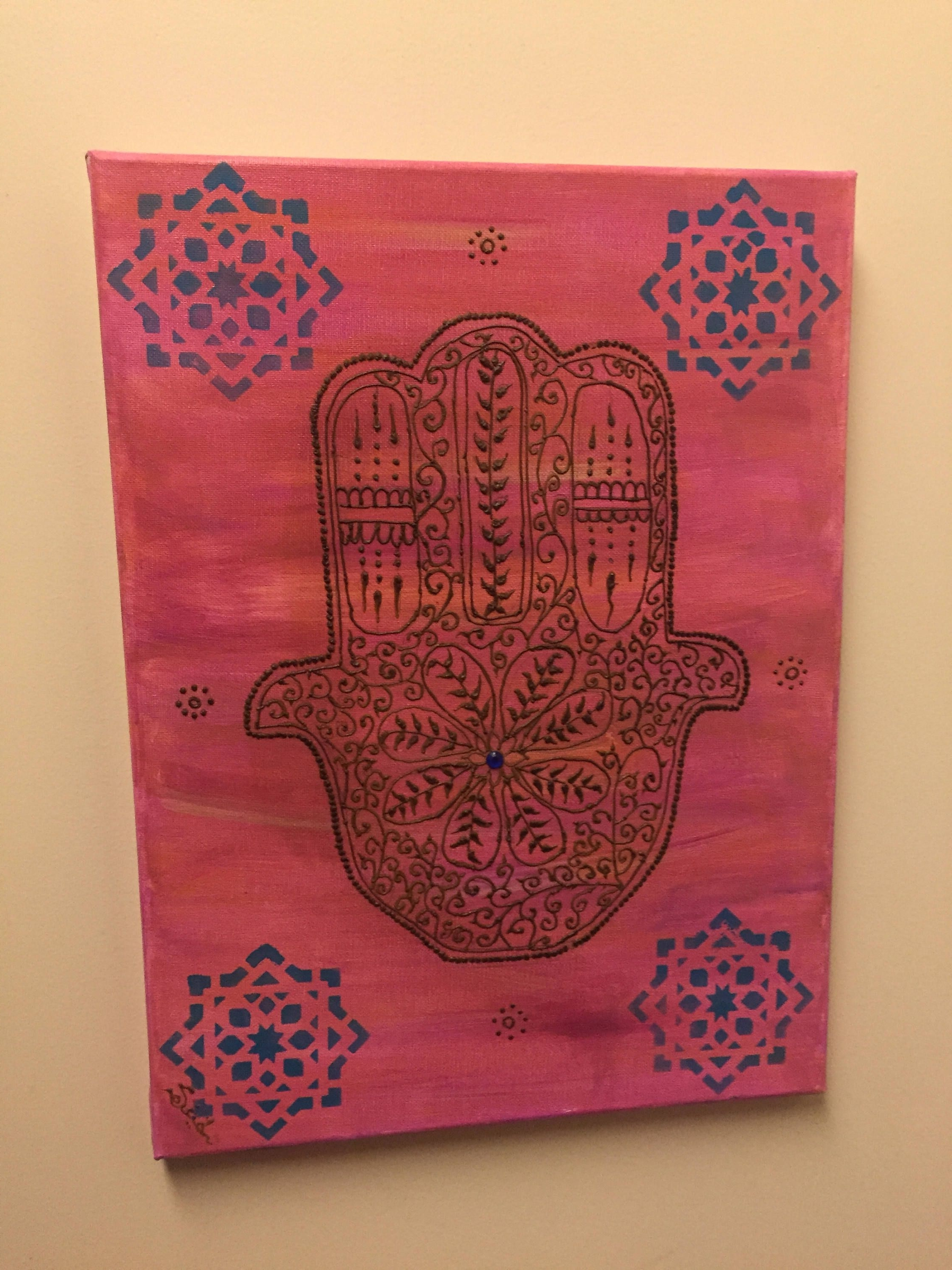 "Moroccan Hamsa Wall Art, Moroccan Art, Henna Wall Art, ""henna Art Inside Most Current Henna Wall Art (View 13 of 20)"