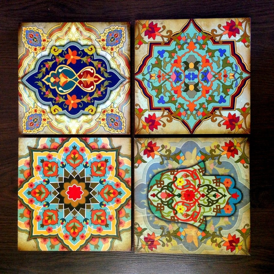 Moroccan Wall Art Intended For Current Hamsa Hand Moroccan Wall Art Set Wooden Blocks 8X8 Set Of 4 Best (View 12 of 20)