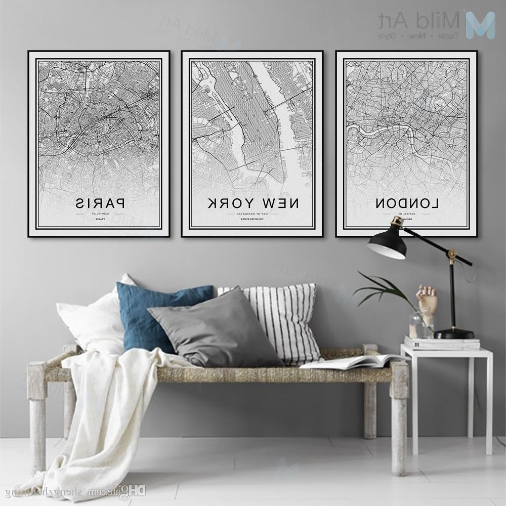 Most Current 2018 Black White World City Map Poster Nordic Living Room London New For Paris Wall Art (View 4 of 15)