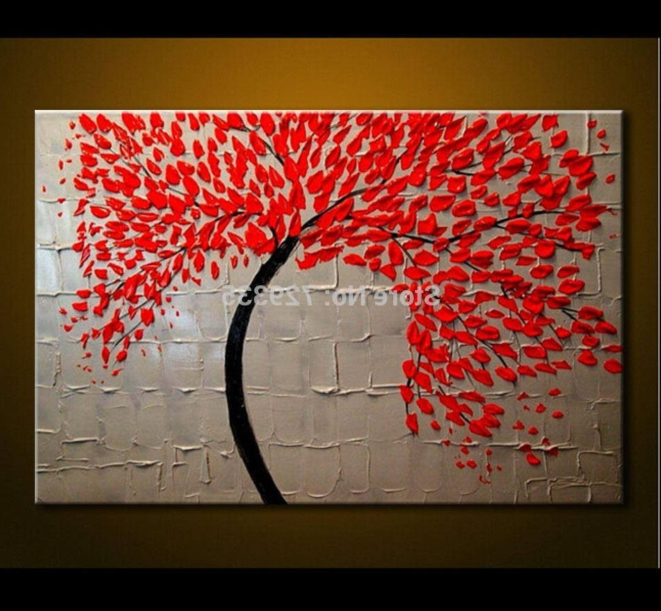 Most Current 2018 Hand Made Oil Painting On Canvas Palette Knife Red Tree Flowers With Cheap Canvas Wall Art (View 8 of 15)