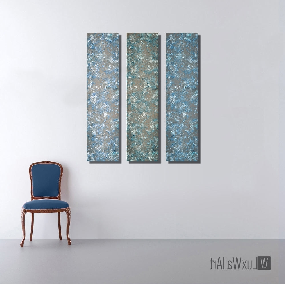 Most Current 3 Blue Large Vertical Thin Panel Metal Abstract Wall Art Throughout Vertical Metal Wall Art (Gallery 3 of 20)
