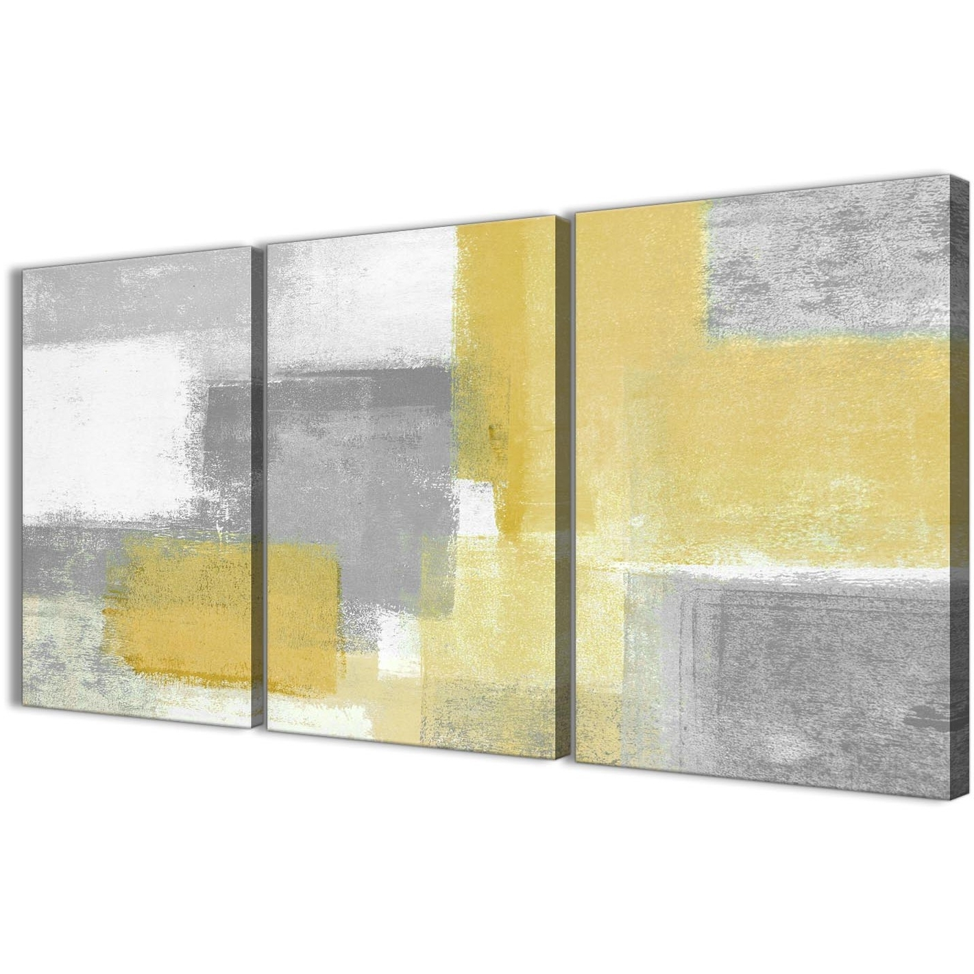 Most Current 3 Piece Canvas Wall Art Throughout 3 Panel Mustard Yellow Grey Kitchen Canvas Wall Art Decor – Abstract (View 13 of 20)