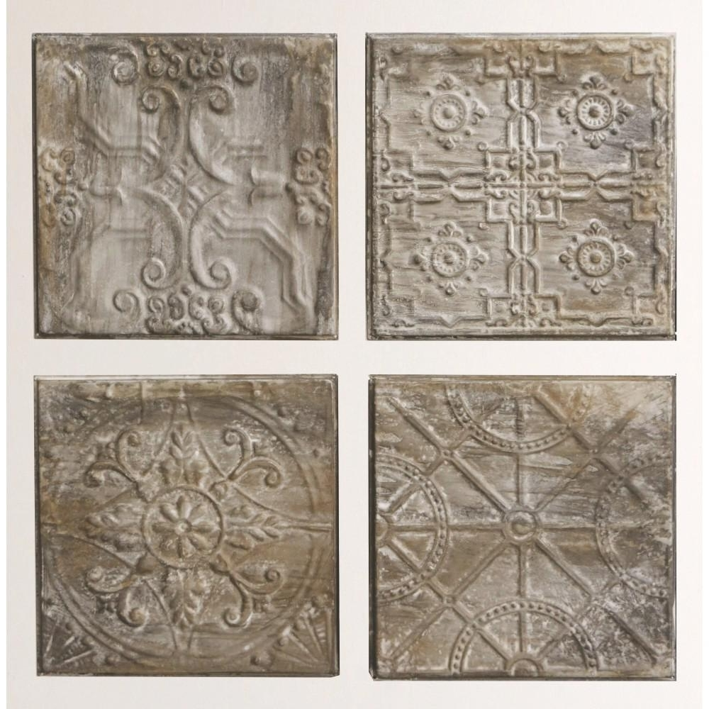 "Most Current 3R Studios 12.5 In. H X 12.5 In. W ""antiqued Tin Tiles"" Wall Art Pertaining To Tin Wall Art (Gallery 3 of 20)"