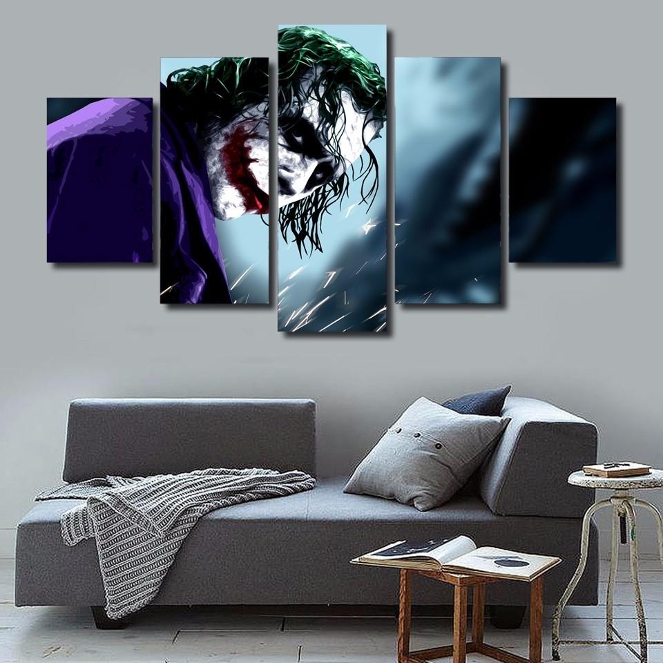 Most Current 5 Pcs/set Framed Hd Printed Batman Joker Movie Picture Wall Art Throughout Joker Wall Art (View 15 of 20)