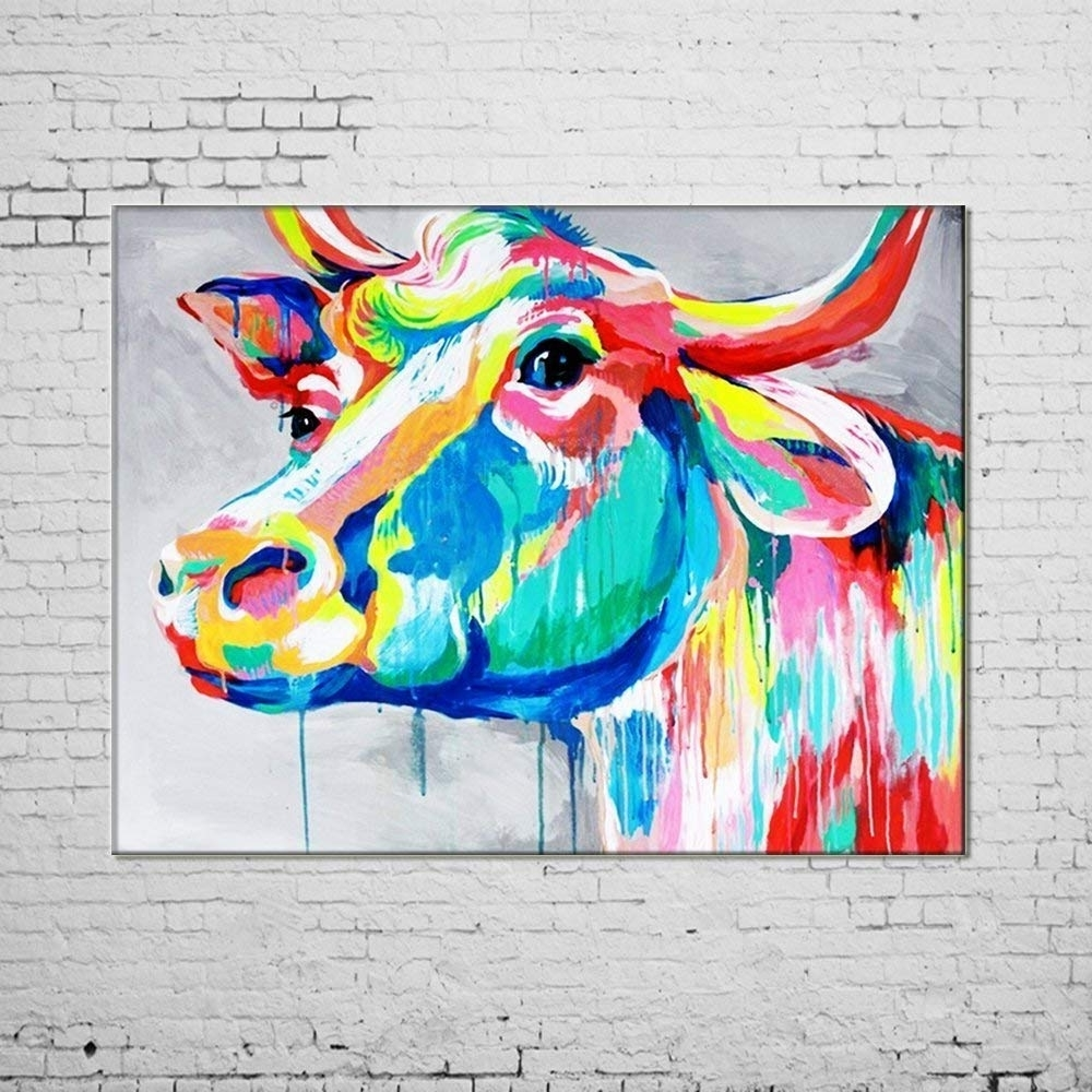 Most Current Amazon: Osm Art Hand Painted Animals Oil Painting On Canvas Hang For Cow Canvas Wall Art (View 13 of 20)
