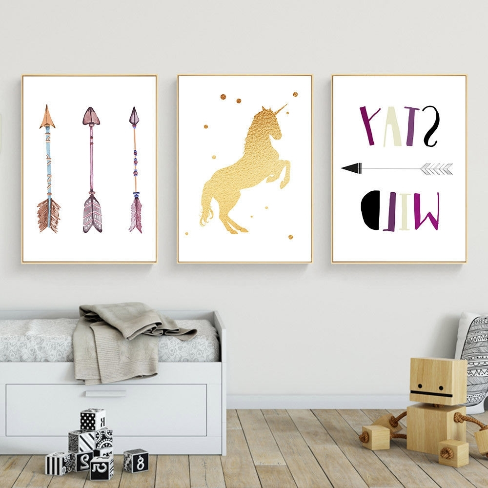 Most Current Arrow Wall Art Pertaining To Unicorn Arrow Wall Art Canvas Poster Nursery Quote Prints Kids (View 13 of 20)