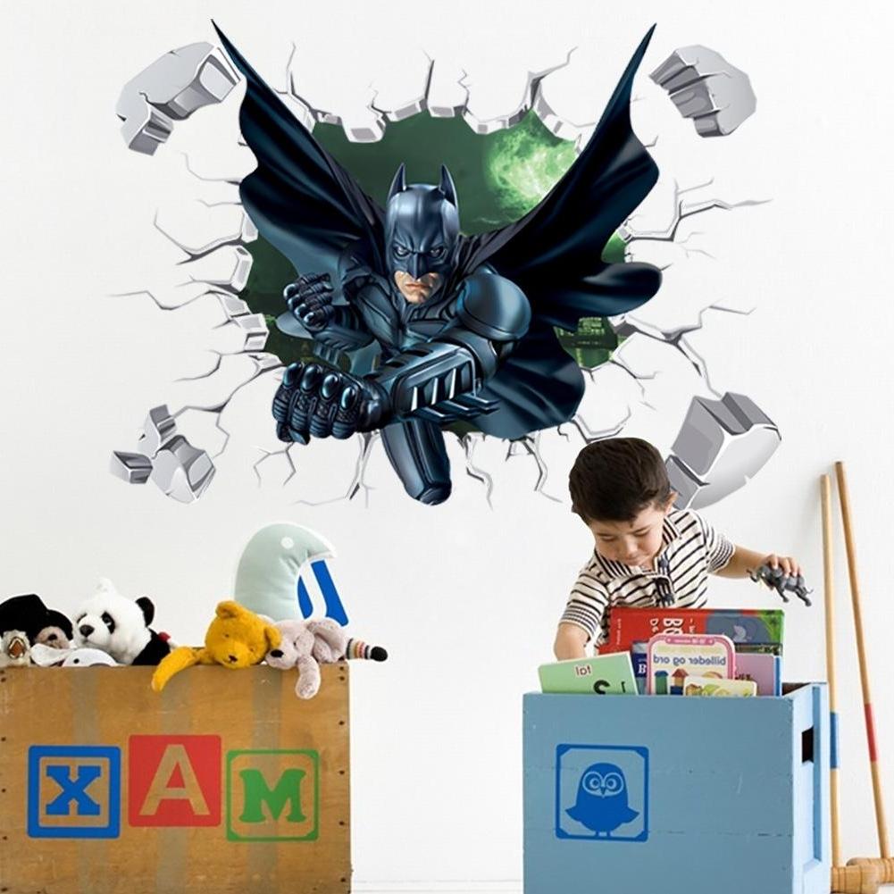 Most Current Batman Wall Art Regarding 3d Batman Wall Sticker Kids Nursery Room Cartoon Decor Removable Art (View 19 of 20)