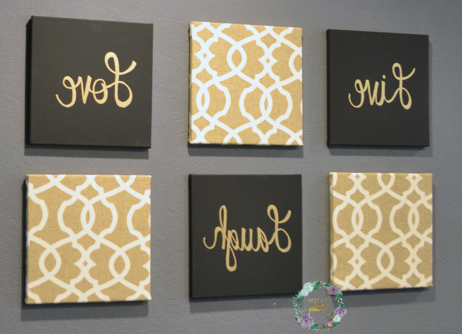 Most Current Black And Gold Eat Drink Be Merry Chic Wall Art Set Inside Black And Gold Wall Art (Gallery 1 of 20)