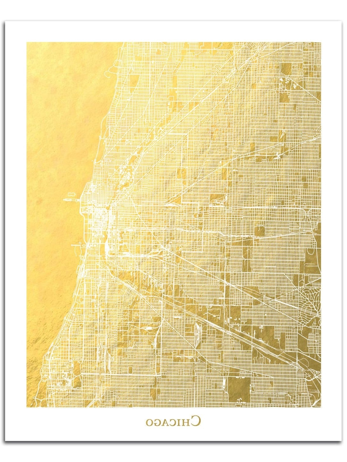 Most Current Chicago Map, Chicago Print, Gold Foil Print, Gold Foil Map™, Chicago Within Chicago Map Wall Art (Gallery 19 of 20)