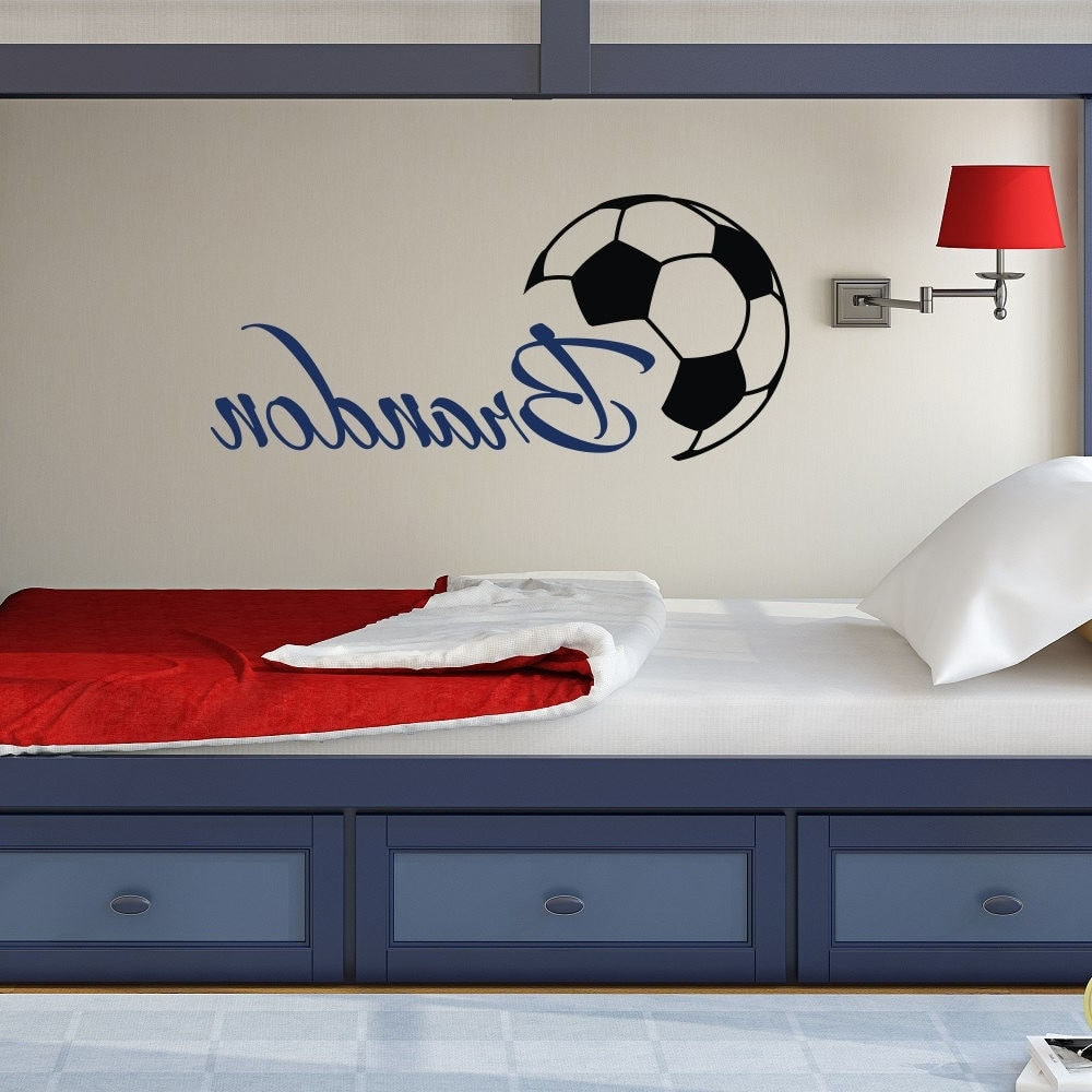 Most Current Custome Boys Name Wall Decals With Soccer Art Wall Stickers Pertaining To Baseball Wall Art (View 16 of 20)