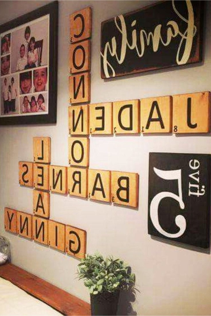 Most Current Diy Farmhouse Scrabble Wall Art Decorating Ideas (View 9 of 20)
