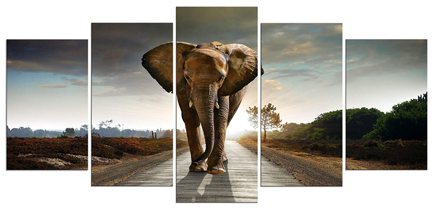 Most Current Elephant Wall Art In Amazon: Wieco Art 5 Panels Elephant Pictures Paintings On Canvas (View 8 of 15)