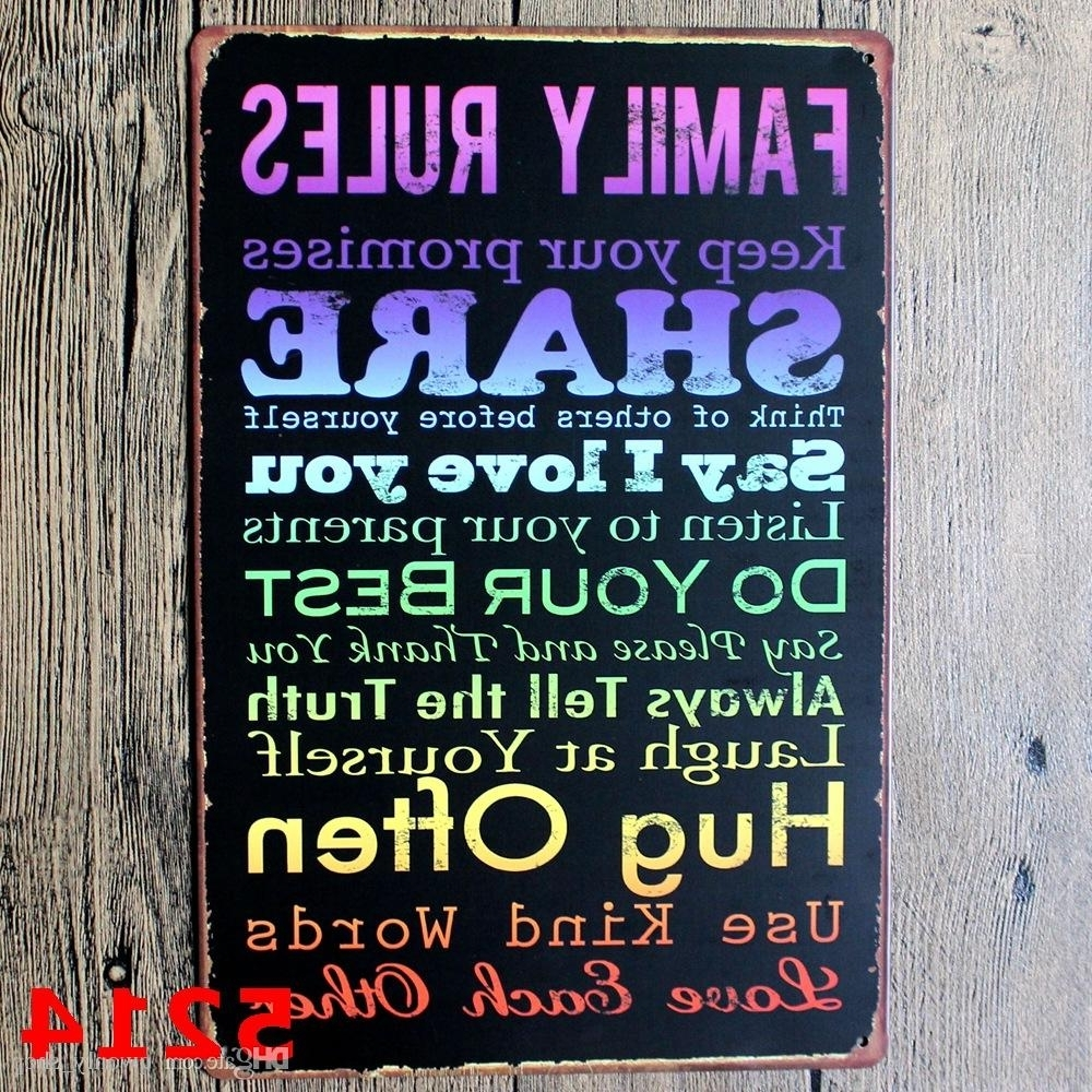 Most Current Family Rules Wall Art Throughout Family Rules Tin Sign Vintage Wall Art Keep Your Promises Poset For (View 3 of 20)