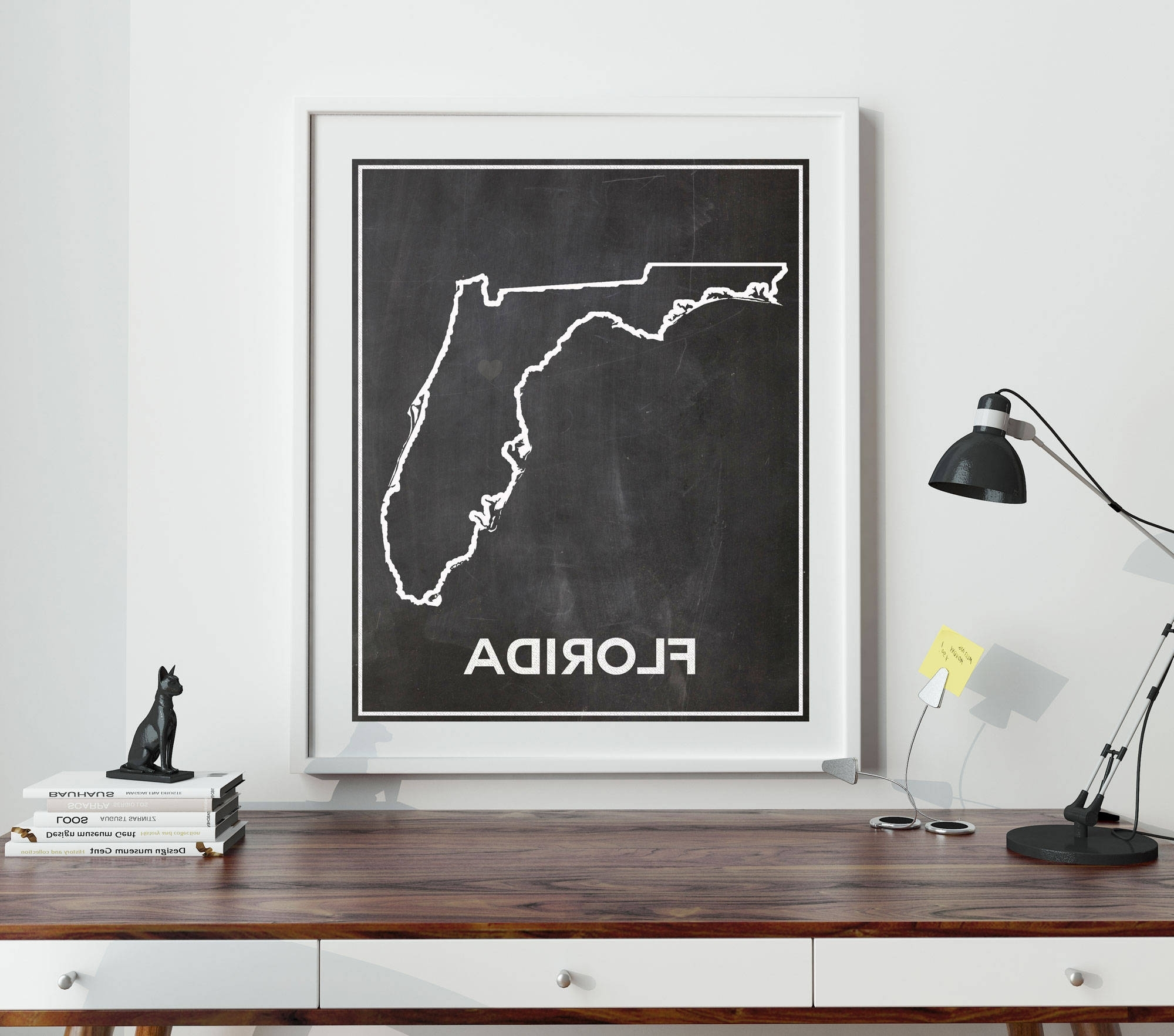 Most Current Florida Wall Art With Florida Chalkboard Map Of Florida Florida Poster Florida Wall Art (View 17 of 20)