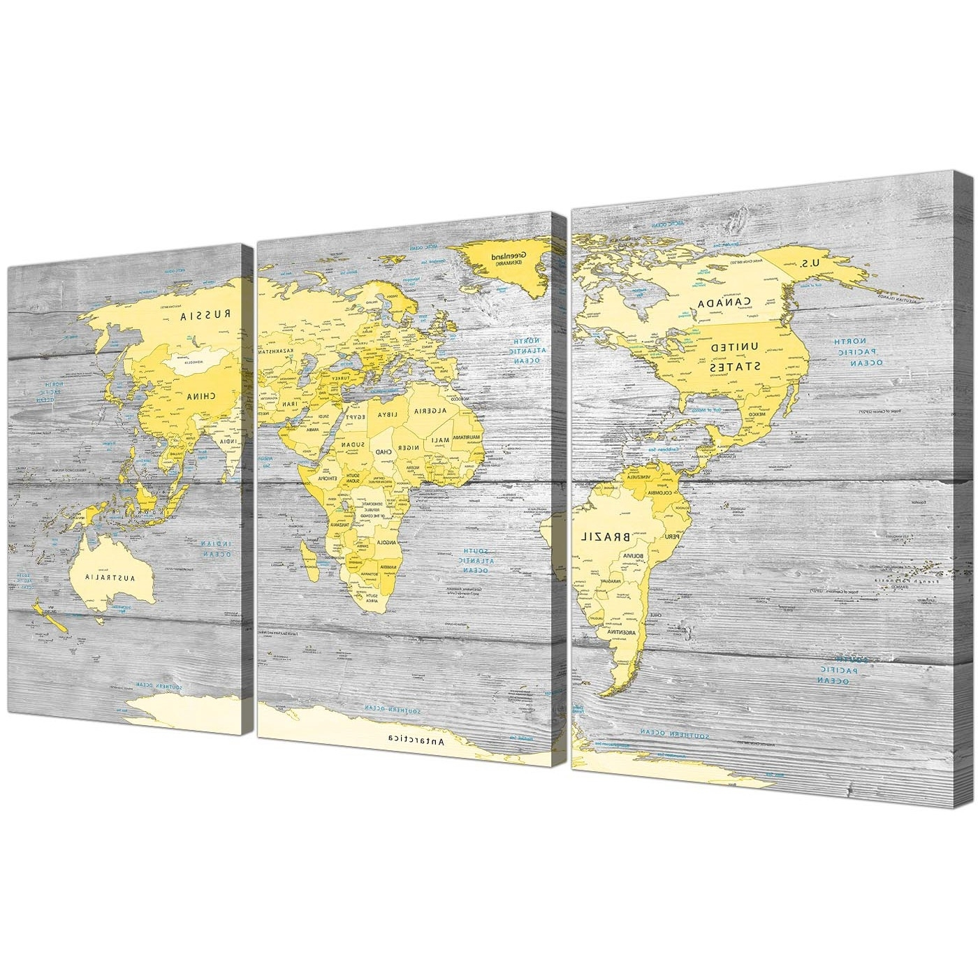 Most Current Gray Canvas Wall Art With Regard To Large Yellow Grey Map Of World Atlas Canvas Wall Art Print (View 1 of 20)