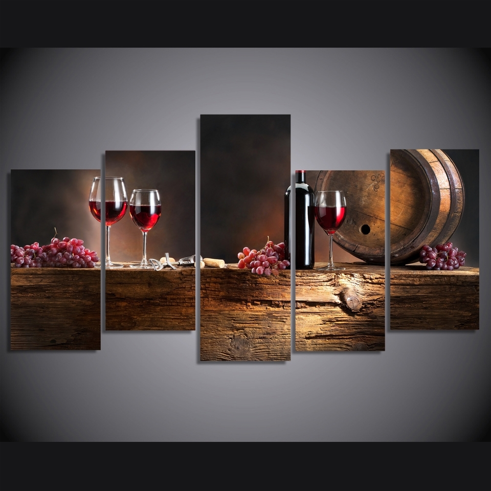 Most Current Hd 5 Piece Canvas Art Print Red Wine Grapes Wineglasses Painting With Regard To Five Piece Canvas Wall Art (View 10 of 20)