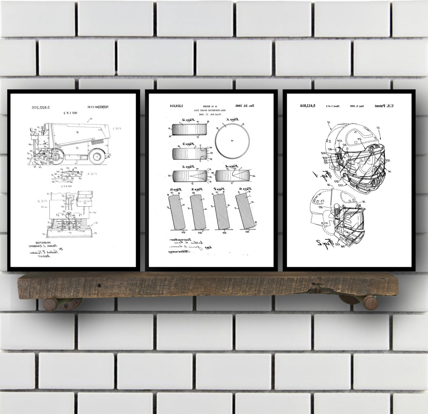 Most Current Hockey Wall Art Pertaining To Hockey Patents Set Of 2 Prints, Hockey Prints, Hockey Posters (View 11 of 15)