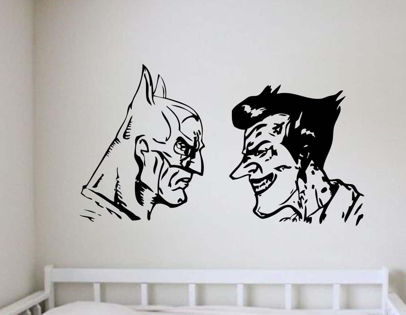 Most Current Joker Wall Art Pertaining To Batman And Joker Wall Art Decal (View 2 of 20)
