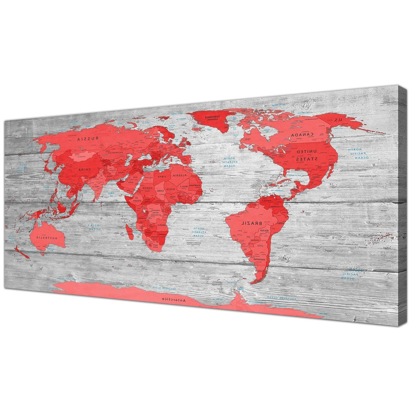 Most Current Large Red Grey Map Of The World Atlas Canvas Wall Art Print Modern Inside Red Wall Art (View 2 of 15)