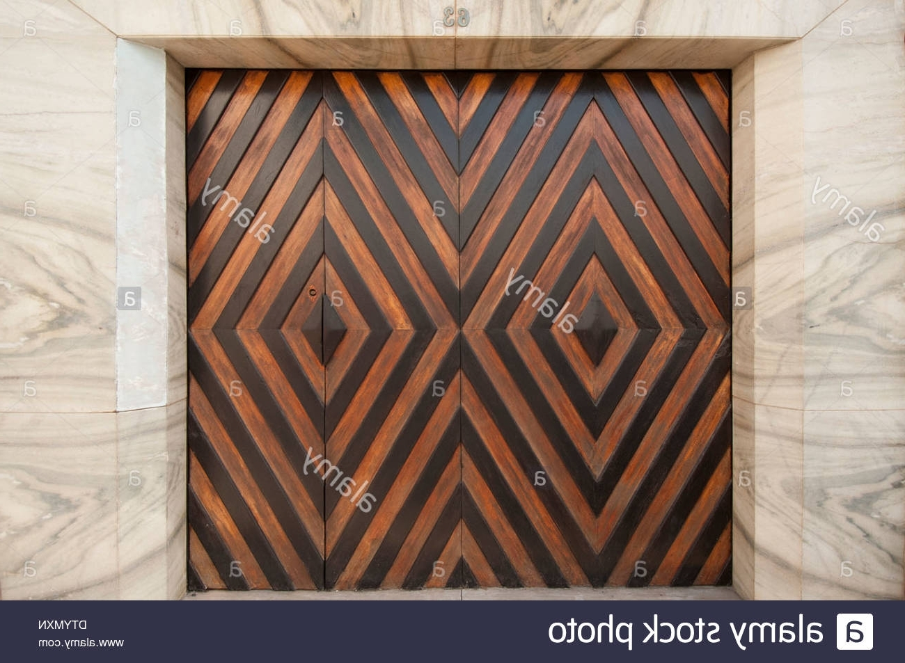 Most Current Modern Art Deco Style Garage Doors Set Into Marble Wall, Portugal Inside Art Deco Wall Art (View 14 of 20)