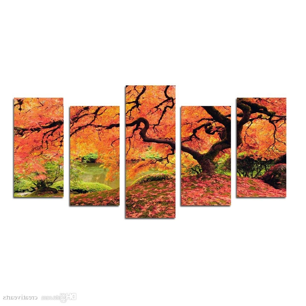 Most Current Multi Panel Wall Art With Multi Panel Red Maples Tree Canvas Prints Wall Art Modern Decor (View 11 of 15)