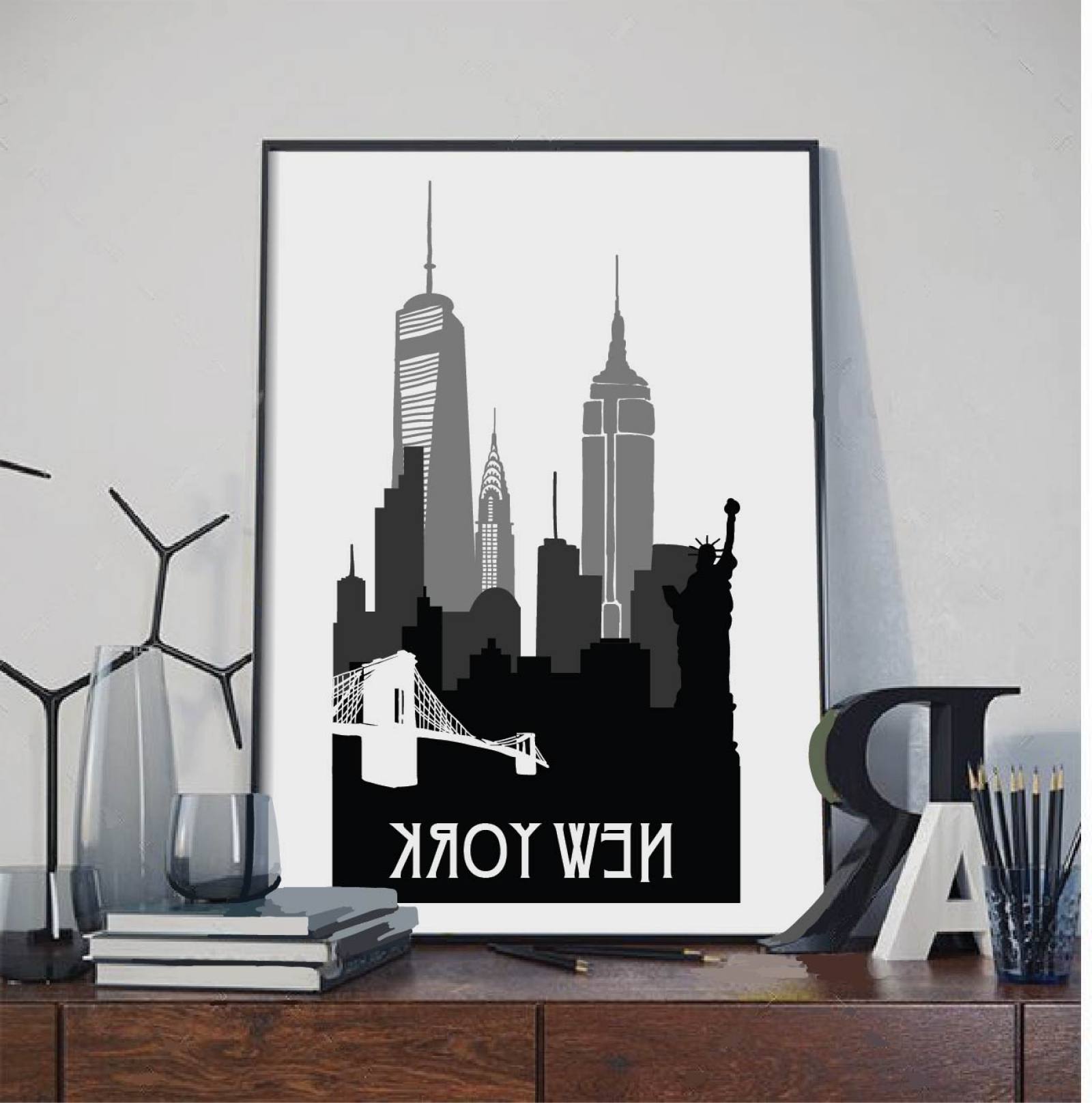 Most Current New York Wall Art Regarding New York Print, New York Silhouette Print, Wall Art,city Poster (View 17 of 20)